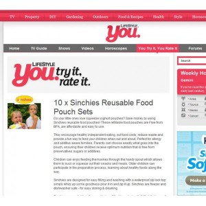 Sinchies Reusable Food Pouches on TV: Lifestyle You