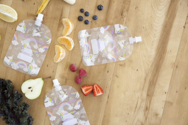 Sinchies reusable yoghurt pouches in unicorn and rainbow print