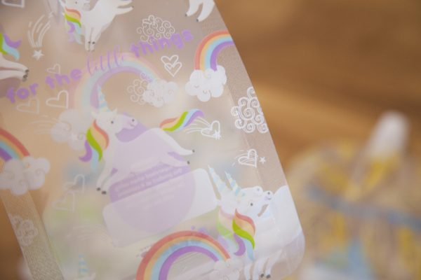 Sinchies unicorn and rainbow reusable food pouches